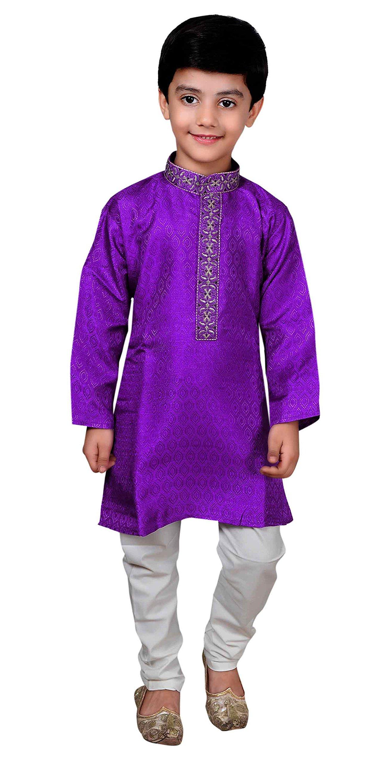 Boys Indian Sherwani Purple Kurta with pajama kids Bollywood theme party 930 (2 (2 yrs), Purple)