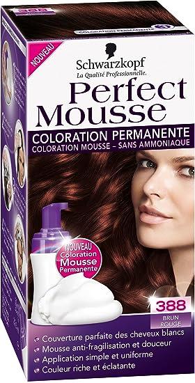 schwarzkopf perfect mousse coloration permanente brun rouge 388 - Coloration Brun Fonc