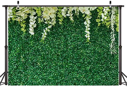 10x6.5ft Beautiful Flowers Green Ivy Wall Vinyl Photography Background Green Leaves Stone Wall Wedding Backdrop Party Decoration Banner Photo Studio Prop