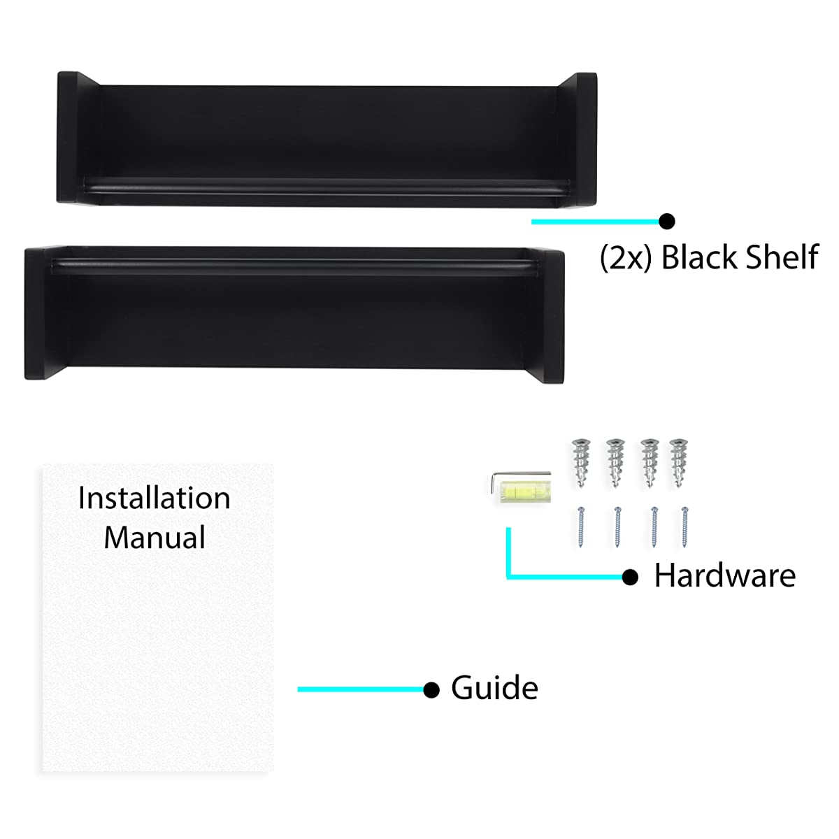 Wallniture Utah Set of 2 Multi-use Wood Kitchen Wall Shelf Black Spice Rack Also Good For Nursery Wall Shelf