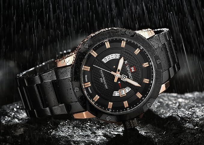 Amazon.com: NAVIFORCE Watch Men Stainless Steel Waterproof Analog Japanese Quartz Movement Date: NAVIFORCE: Watches