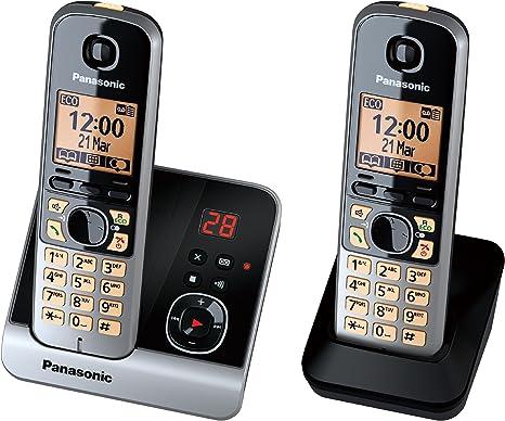 Panasonic KX-TG6722GB - Pack de 2 teléfonos digitales inalámbricos (pantalla LCD de 1.8, manos libres), negro [Importado de Alemania] [versión importada]: Amazon.es: Electrónica