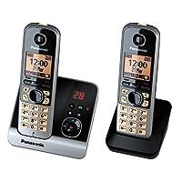 Panasonic KX-TG6722GB Duo Schnurlostelefon (4,6 cm (1,8 Zoll) Display, Smart-Taste, Freisprechen, Anrufbeantworter) schwarz/silber