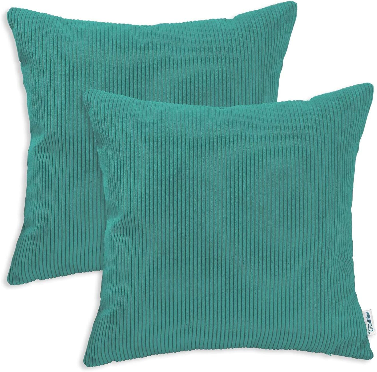 CaliTime Pack of 2 Cozy Throw Pillow Covers Cases for Couch Bed Sofa Ultra Soft Corduroy Striped Both Sides 16 X 16 Inches Teal