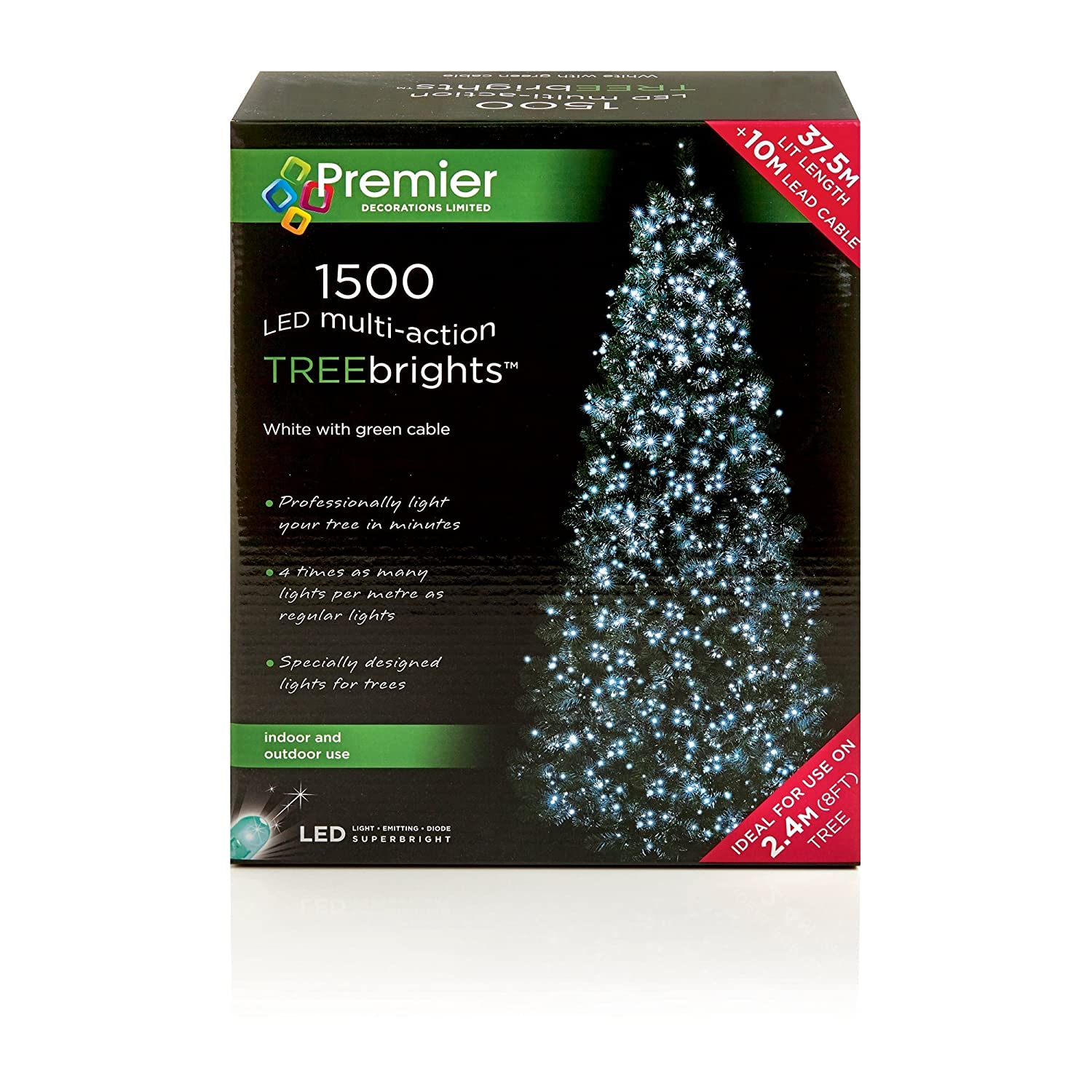 1,500 LED (37.5m) Premier TreeBrights Cluster Christmas Tree Lights Cool White