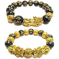 Black Obsidian Wealth Bracelet, 2 Pcs Pi Xiu Bracelet Feng Shui Good Luck Bracelets for Women Men Attract Wealth Money…