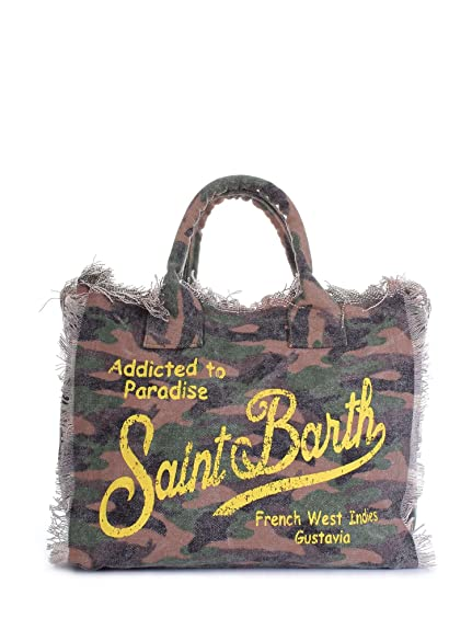 d3685841a3 MC2 SAINT BARTH Borsa Mare Canvas Vanity Camouflage Giallo: Amazon ...