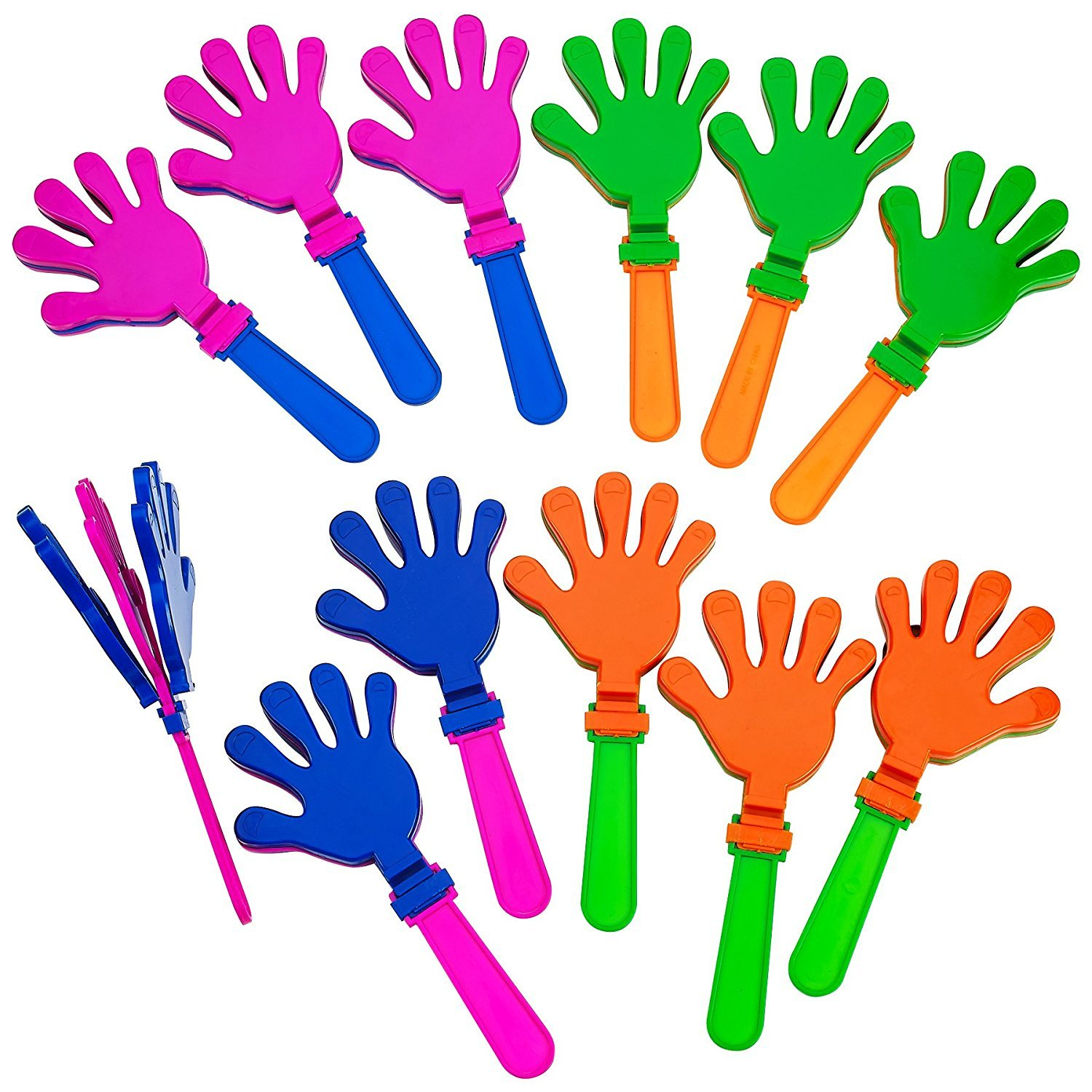 Plastic Hand Clappers - 12 Pack Assorted Colors – Party Favors - Toy For Kids, Easter Hunt, Cinco de mayo – Noise Makers – By Katzco