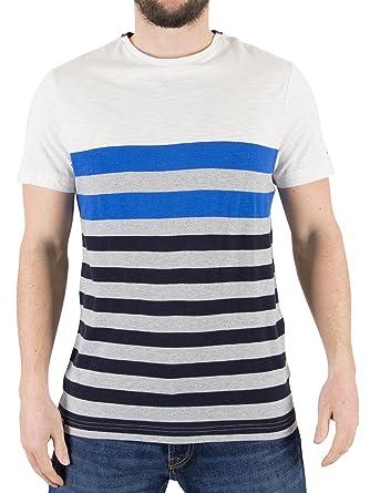 2c9dfb1e Tommy Hilfiger Men's Niels Striped T-Shirt, White, X-Large: Amazon ...