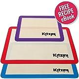 "Silicone Baking Mat Sheet Set (3) 2 Half Sheets 16.5"" x 11 5/8"" + 1 Qtr Sheet 11.5"" x 8.5"". Non Stick Cookie Sheets Professional Grade - Includes Bonus Recipe eBook"