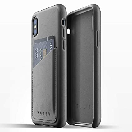 new arrival 41234 09227 Mujjo Full Leather Wallet Case compatible with iPhone XS, iPhone X | 2-3  Card Pocket, 1MM Protective Screen Bezel, Japanese Suede Lining (Grey)