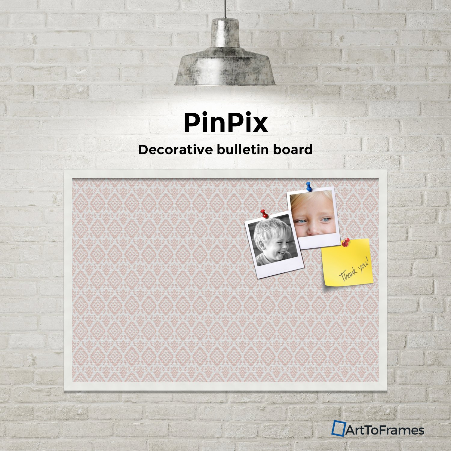 PinPix custom printed pin cork bulletin board made from canvas, Ikat Vintage Grapefruit 36x24 Inches 2 x 3 ft and framed in Satin White Frame (PinPix-1600-36x24_FRBW26074) by PinPix (Image #4)