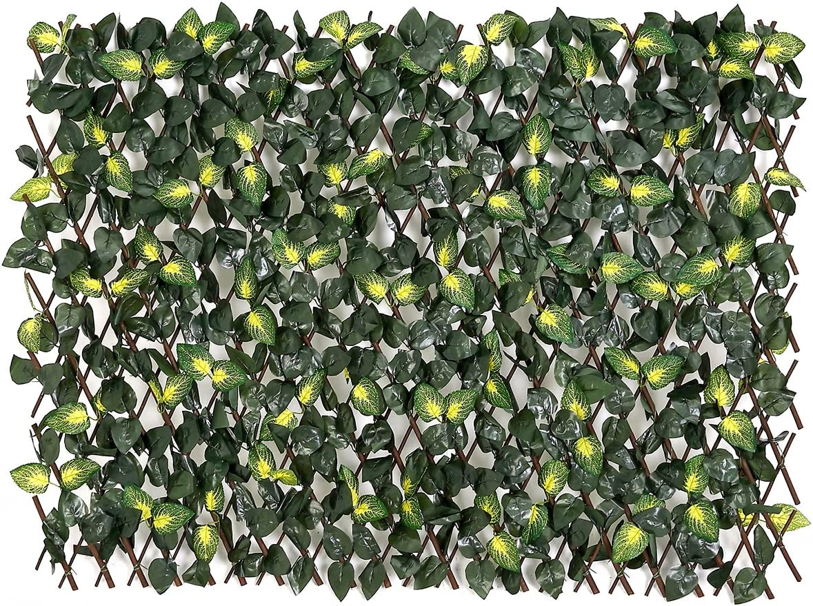 Fashion Garden Fence Expandable Faux Ivy Privacy Fence Artificial Hedge 39x78 INCH Single Sided Colour Leaves Green (Yellow)