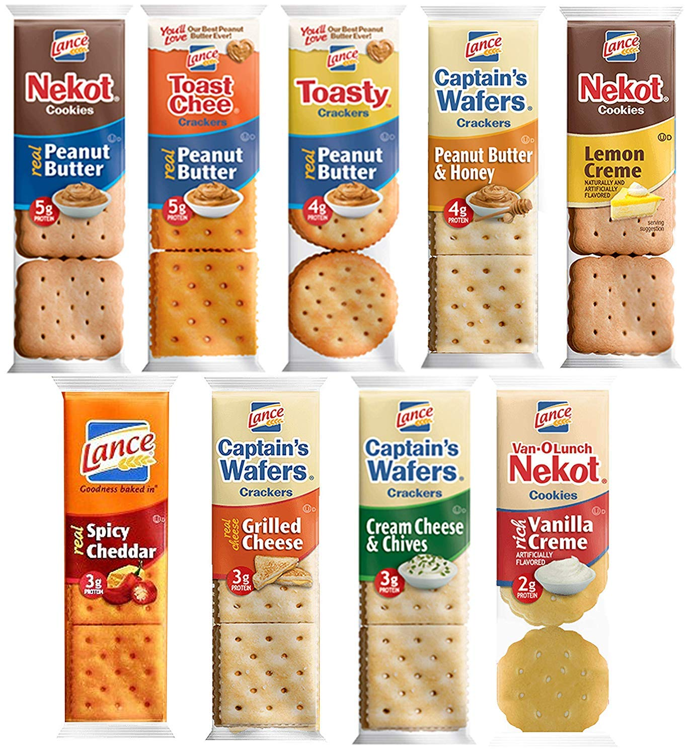 Lance Crackers Variety Pack Assortment - Individually Wrapped Bulk Sampler by Variety Fun (72 Count)