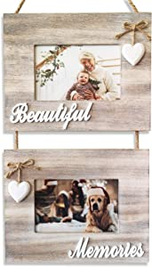 Beautiful Memories Rustic Double Hanging 4x6 Farmhouse Picture Frames, Packaged to Inspire and Delight, Just in Time For Christmas. Decorative Photo Frame Collage, Shabby Chic Decor, Whitewash Style Wood. Porta Retratos Decorativos