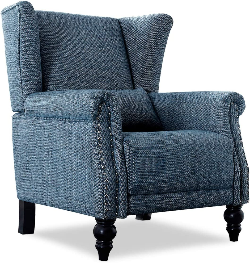 Top Space Blue Accent Chair Fabric Club Chairs with Arm Modern Chair Stripe  Single Sofa for Home Living Room,Office,Bedroom (Dark Blue)