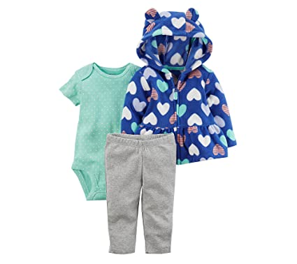 4c2e5f3ba Amazon.com  Carter s Baby Girls  3 Piece Heart Print Cardigan Little ...