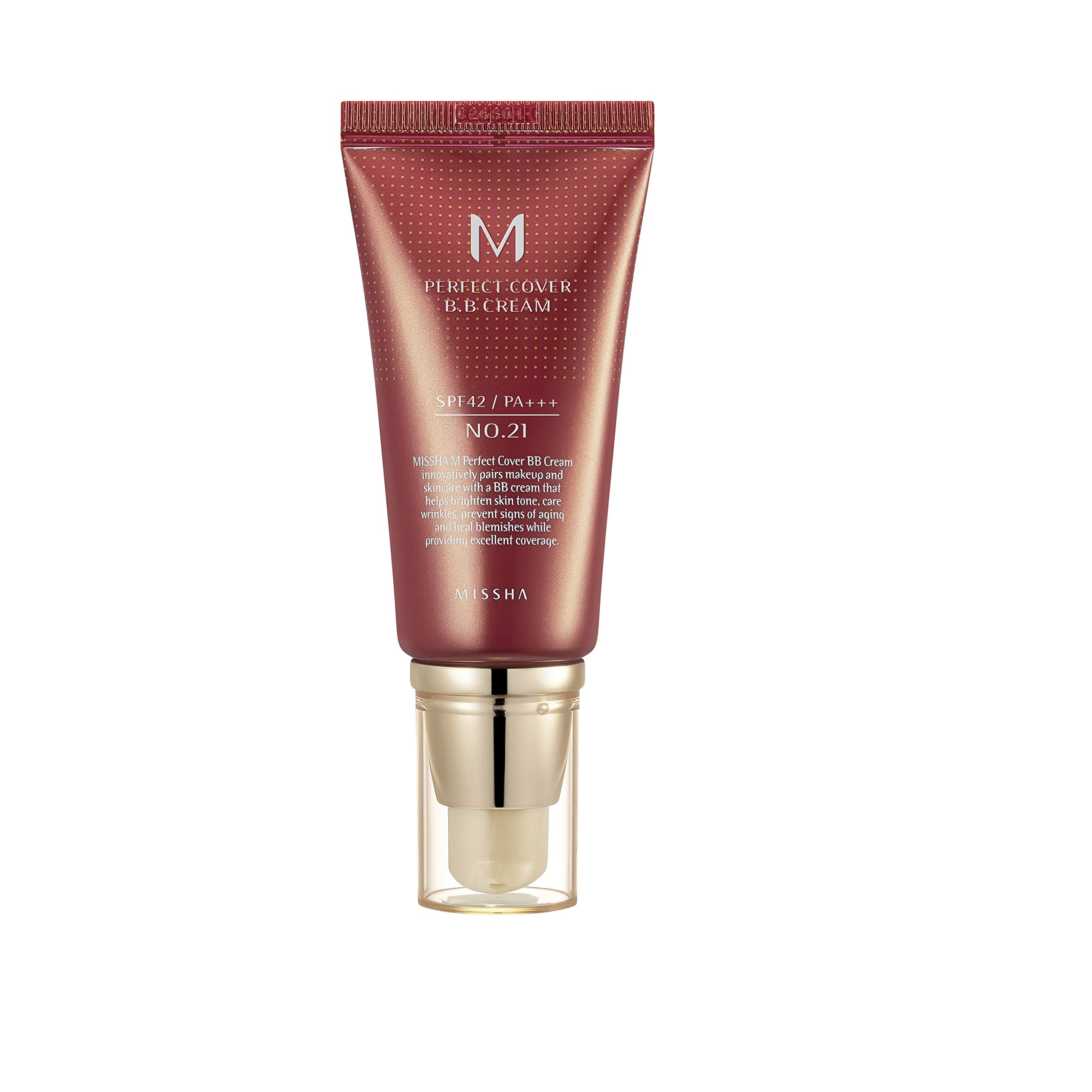 MISSHA M PERFECT COVER BB CREAM #21 SPF 42 PA+++ 50ml-Lightweight, Multi-Function, High Coverage Makeup to help infuse moisture for firmer-looking skin with reduction in appearance of fine line