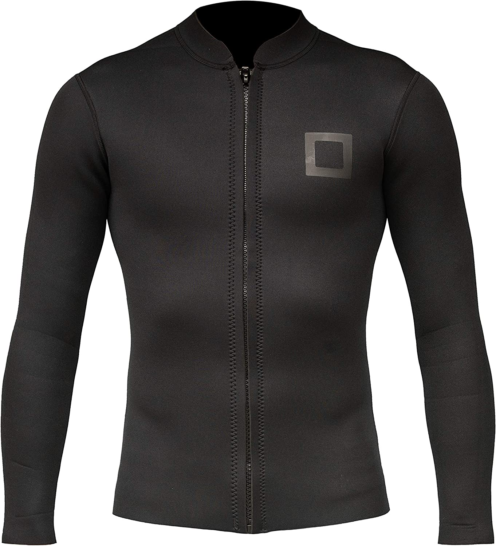 Surf Squared Mens Wetsuit Top - 3mm Neoprene Long Sleeve Wetsuit Jacket - Durable YKK Locking Front Zip - Pool, Sport, Swimming, or Aerobics - Fits Adult Men & Women