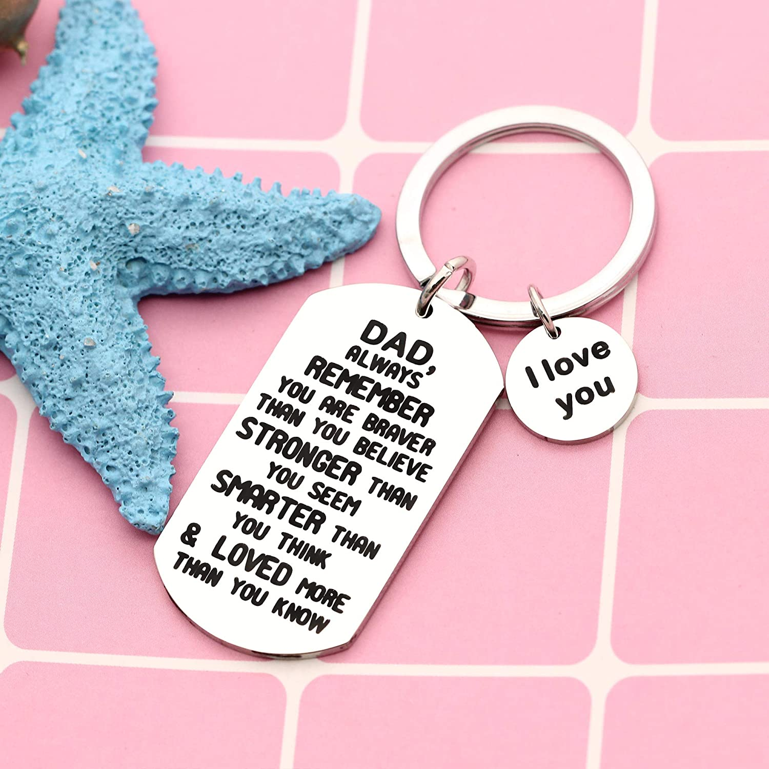 YONGHUI I Love You Dad Always Remember You are Braver Than You Believe Inspirational Keyring Key Chain for Fathers Day