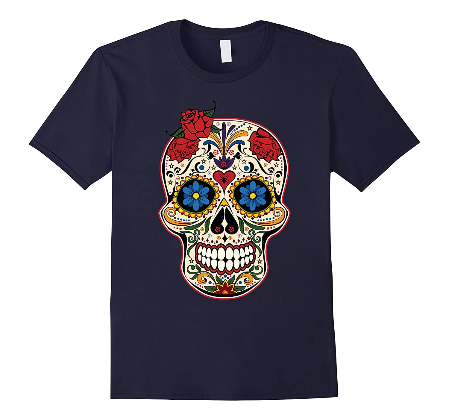 Gothic Day Of The Dead Roses Sugar Skull T-Shirt-Art