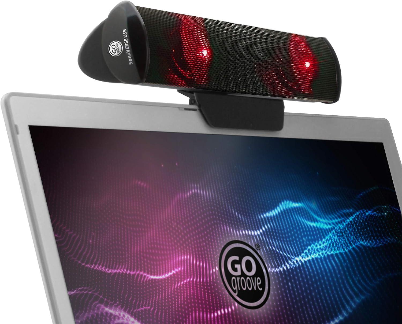 GOgroove SonaVERSE Altavoz LED para Computadora Portátil - Barra De Sonido con Clip USB con Diseño De Mini Altavoz, Interruptor Trasero para Alimentación - Entrada De Audio Y Alimentación (Rojo)