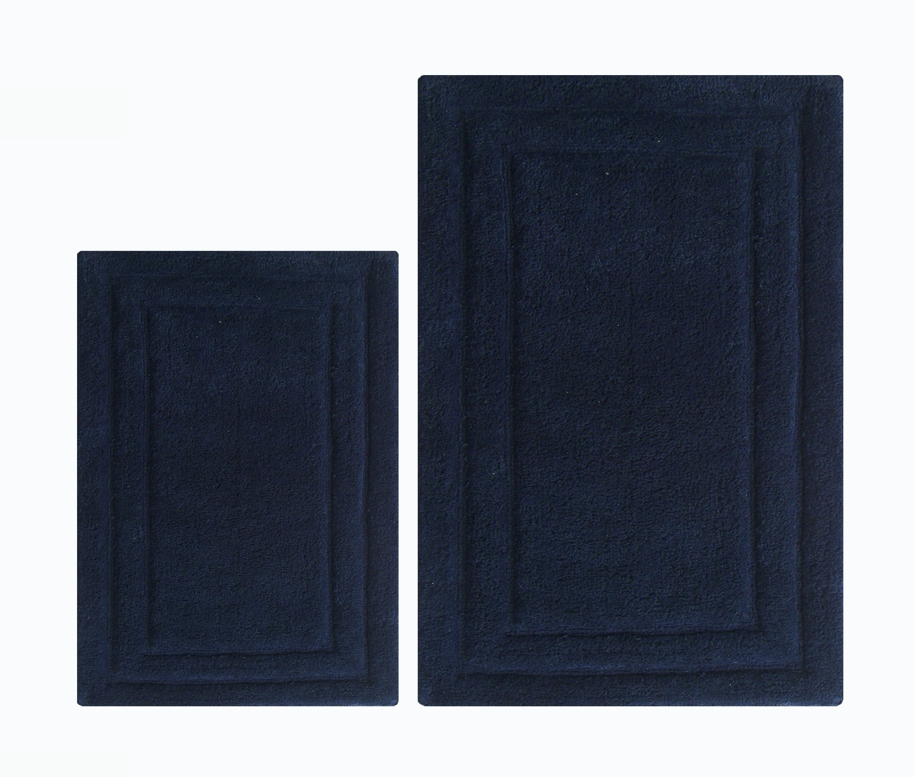 Chardin home 100% Cotton two Piece Classic Bath Rug Set, (24''x40'' & 21''x34'') with anti-skid spray latex back, Navy