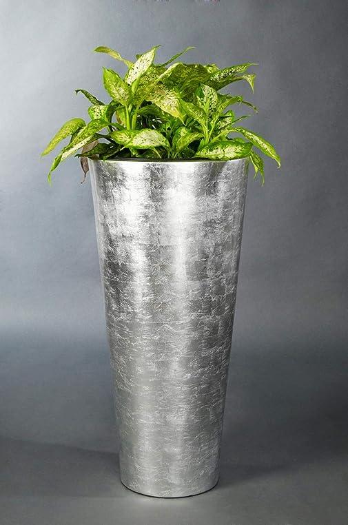 Pflanzkübel Blumenkübel Pflanzgefäß Fiberglas Silber \