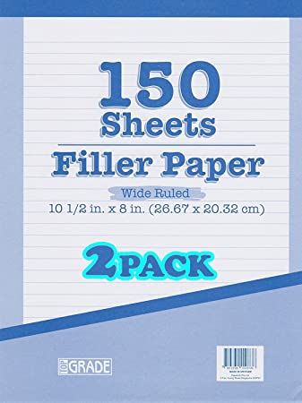 15103 Loose Leaf Paper Wide Ruled Paper White Mead Filler Paper 150 Sheets 10-1//2 x 8