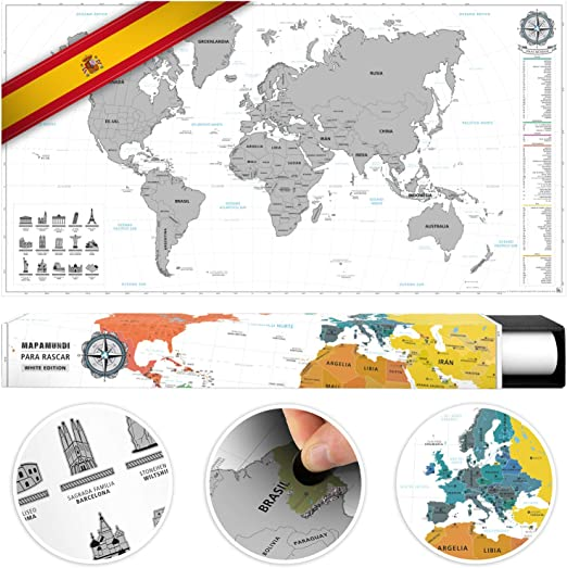benehacks Mapa del Mundo en ESPAÑOL Tipo póster para rascar SIGA Sus Aventuras de Viaje en un Mapa detallado del Mundo - Mapamundi Plata/Blanco - 84 x 44 cm: Amazon.es: Juguetes y juegos
