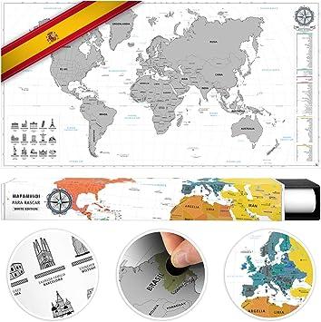 benehacks Mapa del Mundo en ESPAÑOL Tipo póster para rascar SIGA ...