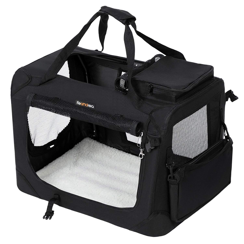 FEANDREA Cage de Transport Caisse Sac de Transport Pliable pour Chien Animal Domestique Noir XXXL 102 x 69 x 69 cm PDC10H