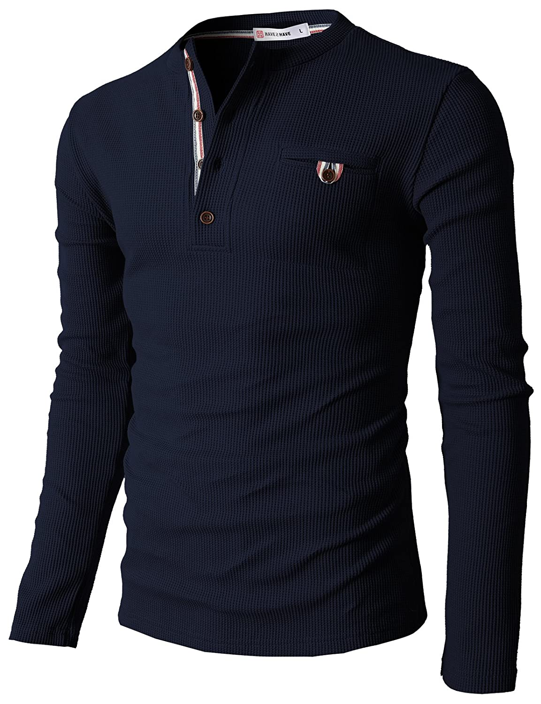 【H2H】 メンズ カジュアル ファッション ワッフル ヘンリー Tシャツ ポケット付き CMTTS0147 B00JR2NACM 3L|062-ネイビー 062-ネイビー 3L
