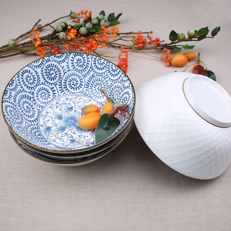 40-Ounce Porcelain Soup,Salad,Pasta Serving Bowls, Assorted Floral Patterns, Stackable Deep Bowl Set of 4 by YALONG (Image #4)
