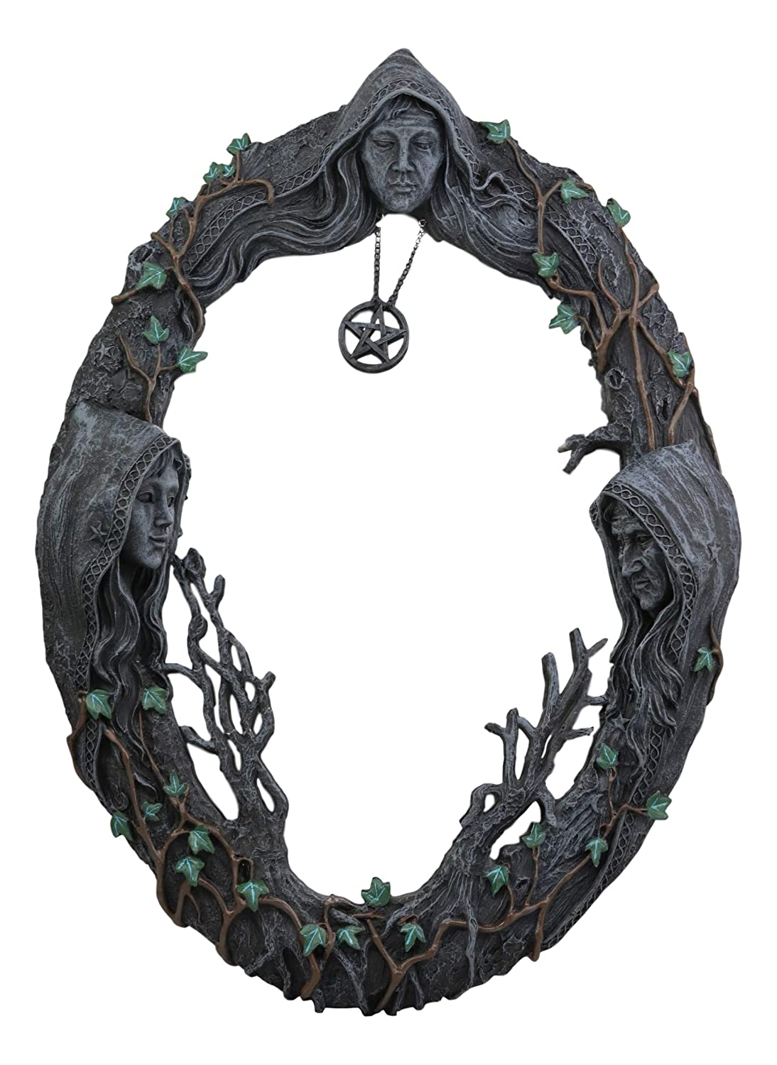 "Ebros Celtic Sacred Moon Triple Goddess Mother Maiden Crone Wall Hanging Mirror with Pentagram Amulet Pendant Plaque Decor 17"" Tall Hecate Brigid Wicca Wiccan Holy Trinity Decor Sculpture Decorative"