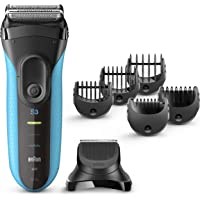 Braun Series 3 3010BT Men's Beard Trimmer/Hair Clipper, Electric Razor, Foil Shaver (Blue & Black)