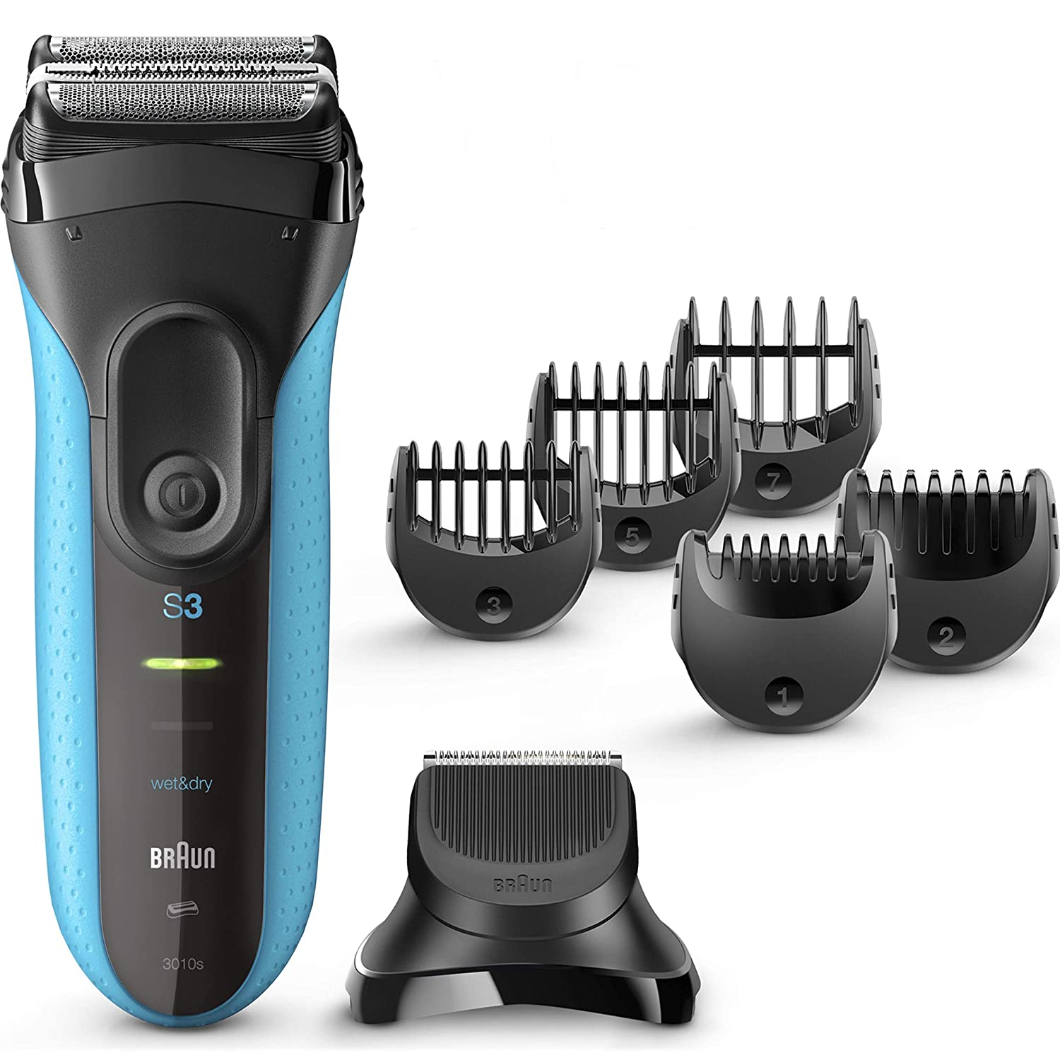 Braun Series 3 Shave Style 3010BT 3-in-1 Electric Razor for Men, Rechargeable and Cordless Electric Shaver, Wet Dry Foil Shaver, Blue, with 5 Combs and Precision Trimmer Head