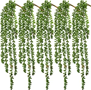 HATOKU 5pcs Artificial Succulents Hanging Plants 2.4FT Fake String of Pearls Hanging for Wall Home Garden Decoration
