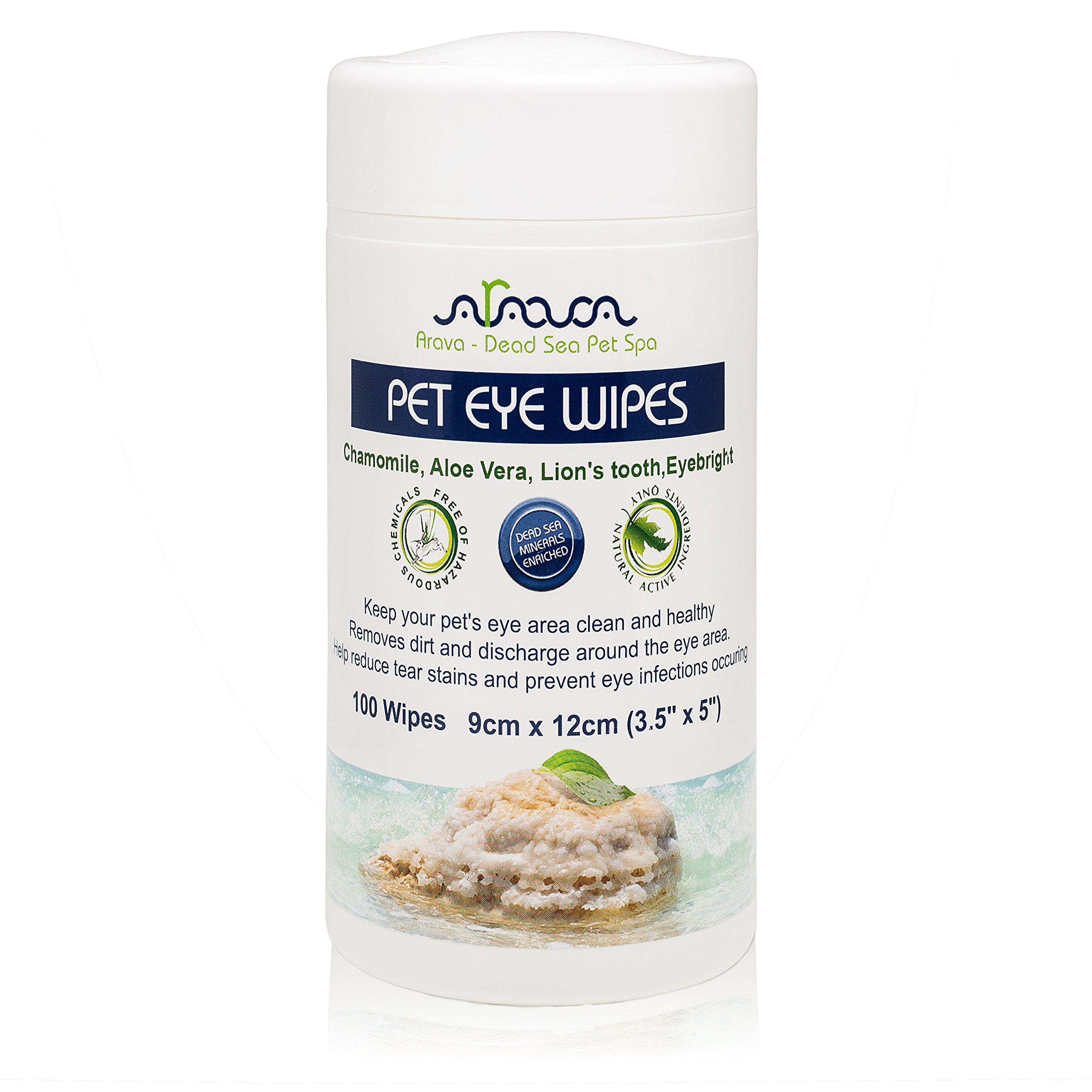 Arava Pet Eye Wipes - for Dogs Cats Puppies & Kittens - 100 Count - Natural and Aromatherapy Medicated - Removes Dirt Crust and Discharge - Prevents Tear Stain Infections & Irritations - Soft & Gentle