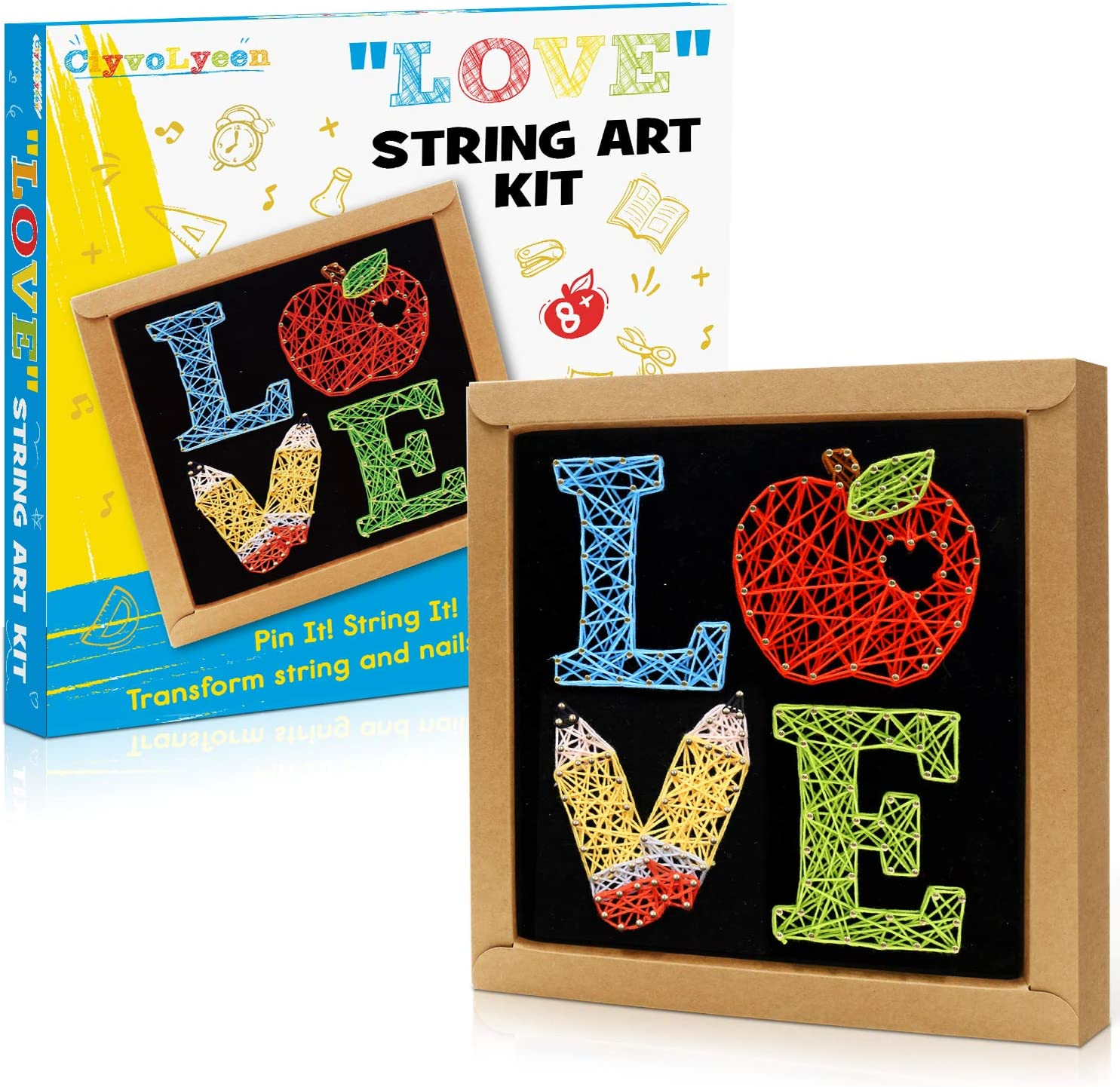 String Art Kit Teacher Appreciation Gifts Apple Pencil Love Craft Kit for Beginner Kids Make Your Own Educational Art Craft Project Supplies Back to School New School Year Classroom Decorations
