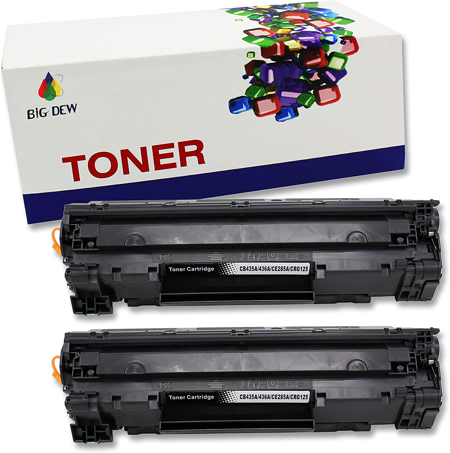 Big Dew Compatible Toner Cartridge Replacement For HP CE285A 85A Toner Cartridge use with LaserJet Pro P1102W P1102 P1100 M1212NFW M1212NF M1210 M1132 M1130 (Black, 2-Pack)