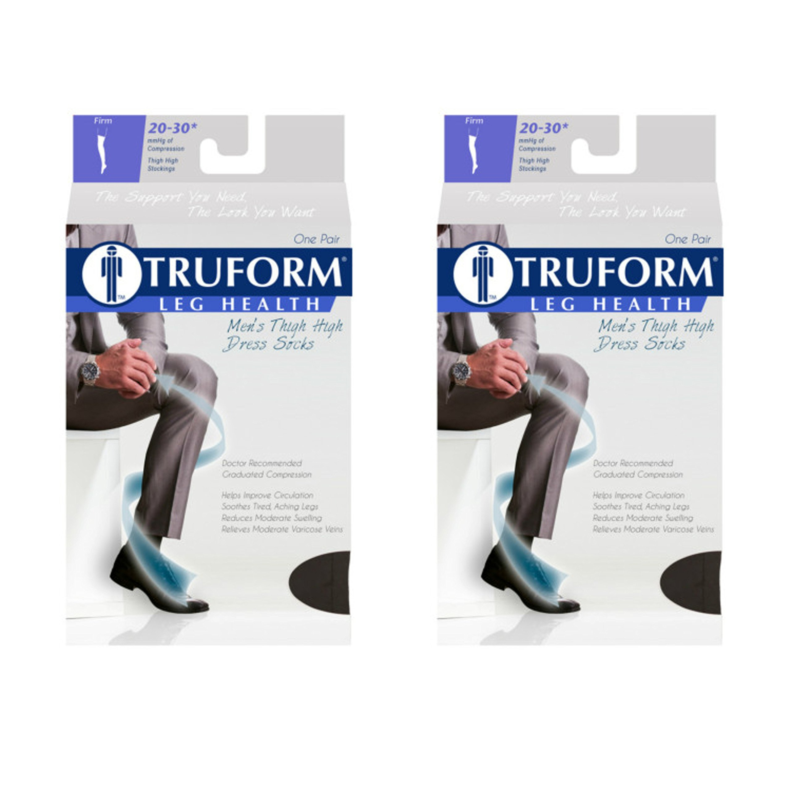Truform 1945 Men's Thigh High Socks, Dress Style, 20-30 mmHg, Black, Large (Pack of 2)