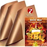 SKYBD Copper Grill Mat (Set of 3) Non-Stick BBQ Grilling &Baking Mats for Gas, Charcoal, Electric Grill Sheet - Reusable and