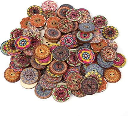 100pcs Two Holes Mixed Star Wooden Buttons for Sewing Scrapbooking DIY Craft
