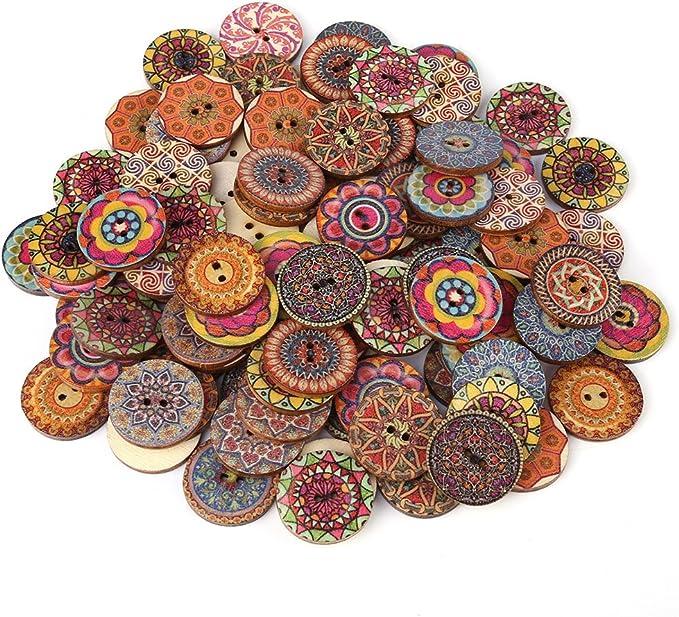 100 Stücke gemalt Gear Holz Knöpfe für Sewing Craft DIY Zubehör 25mm