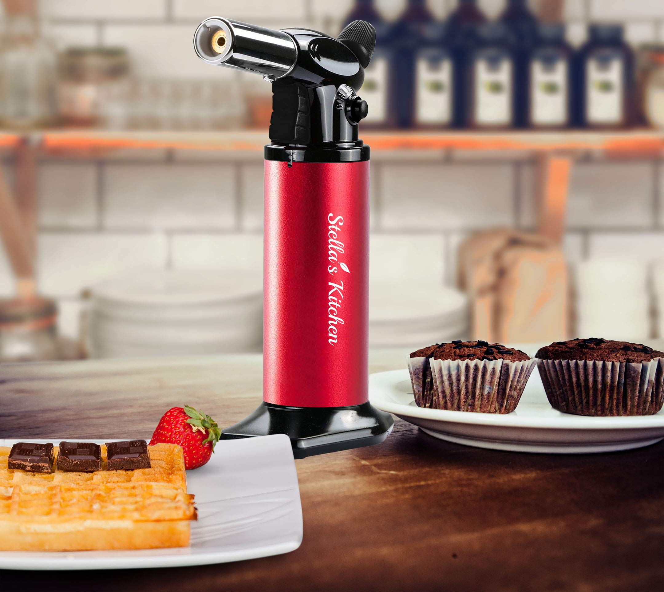 Culinary Torch for Creme Brulee 5 Pack-Culinary Torch-Refillable Butane Torch-Blow Torch-Cooking Torch - Butane Food Torch- Torch for Dabs with Fuel Gauge&Adjustable Flame-Chefs Torch- Butane Torch by Stella's Kitchen (Image #6)