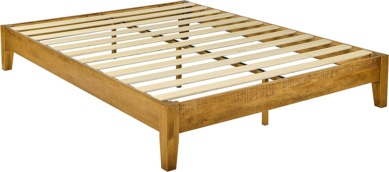 AmazonBasics Solid Platform Bed - Rustic Finish - No Box Spring Needed - Strong Wood Slat Support, Queen