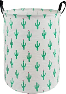 HUAYEE 19.6 Inches Large Laundry Basket Waterproof Round Cotton Linen Collapsible Storage bin with Handles for Hamper,Kids Room,Toy Storage(Cactus)