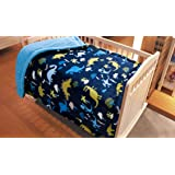 """Golden Linens Baby Infants Printed Sherpa Borrego Ultra soft warm Throw Blanket Bed Cover 40"""" X 50"""" Navy Blue Dinosaur"""