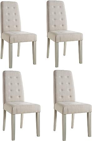 Abitti Pack 4 sillas para Comedor o salón tapizadas en Tela Arena ...